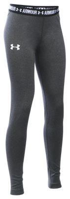 Under Armour HeatGear Armour Leggings for Girls - Carbon Heather/Black - XS