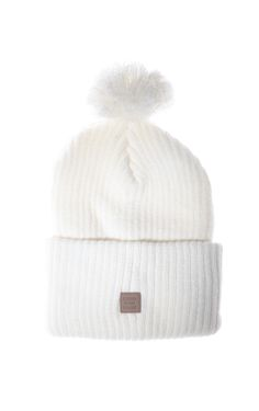 Back to School Men's Accessories: Herschel's white pom-pom beanie. [Photo: Steve Eichner]