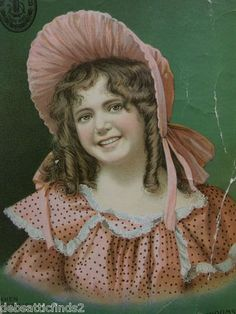 RARE Singer Sewing Machine Victorian Trade Card Girl w Pink Bonnet Dress Curls | eBay