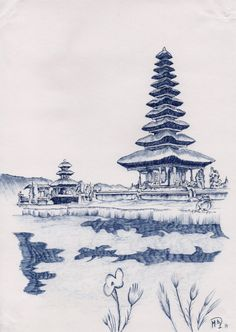 Indonesia Original Blue Pen Drawing Line by mdelgadoprieto on Etsy