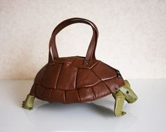 Turtle Bag Brown Leather Purse by krukrustudio on Etsy