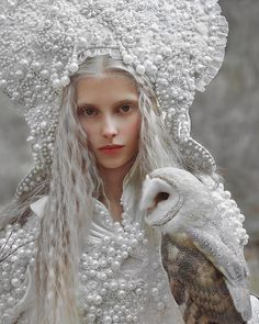 My fantasy portrait with model❤️ & 🦉 in costume and headpiece from ❤️ Fantasy Photography, Amazing Photography, Portrait Photography, Foto Fantasy, Fantasy Art, Snow Queen, Ice Queen, Maurice Careme, Fantasy Portraits