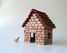 Miniature  House / Cottage Brick House by CrowWhitePottery on Etsy, $110.00