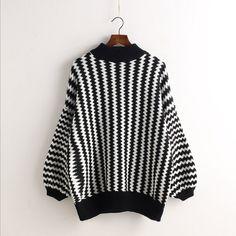 Wavy Lines Balloon Sleeve Pullover Half High Collar Sweater – ebuytide Black Jumper, Black Sweaters, Black Shirts, Black Chevron, Black Stripes, Stripe Top, Sweater Shirt, T Shirt, Crew Shirt