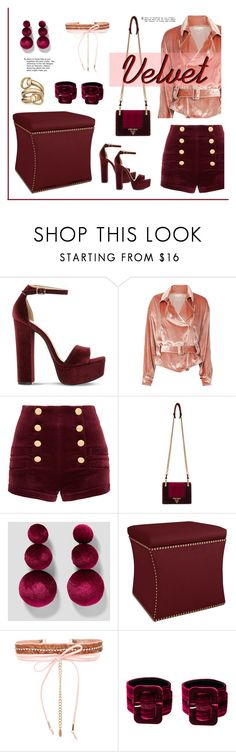 """Velvet"" by outfitsloveyou ❤ liked on Polyvore featuring Steve Madden, Fleur du Mal, Pierre Balmain, Prada, Ettika, Attico and Gucci"