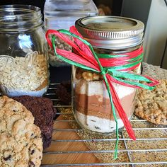 Brownies or Cookies In-A-Jar - A Delicious Holiday Treat - a perfect stocking stuffer or holiday gift for teachers, the postal service or neighbors.