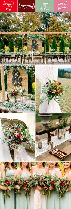 Try red, burgundy, sage, and pink for a soft fall wedding color palette | Finch Photography