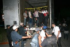 Migrant workers jammed into trucks hoping to find work in the U.S.
