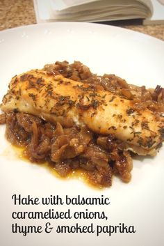 Hake with balsamic caramelised onions, thyme & smoked paprika hake with balsamic caramelised onions, smoked paprika & thyme Hake Recipes, Easy Fish Recipes, Kosher Recipes, Seafood Recipes, Appetizer Recipes, Dinner Recipes, Cooking Recipes, Hake Recipe Healthy, Healthy Recipes