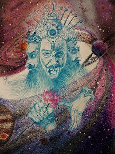 Echoes in Universe – Brahma Art Lord Vishnu, Lord Shiva, Aghori Shiva, A Level Art, Hindu Art, Indian Gods, Gods And Goddesses, Worship, Mythology