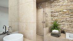 Ein großer Spiegel und die eingemauerte Sitzbank verknüpfen wirkungsvoll das rustikale Design mit modernen Elementen.