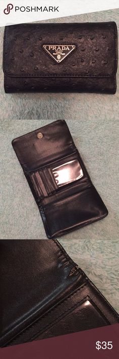 Prada Wallet Great condition Prada wallet!  Dimensions are 6 in by 4 in Make me an offer. I'm open to them!  Thanks for looking! ❤️ Prada Bags Wallets