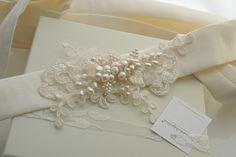 Grace Pearl Bridal Belt by Modern Vintage Bride. - Laima Bridal