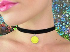 smiley face choker vintage 90s grunge choker smiley by AsIfStore
