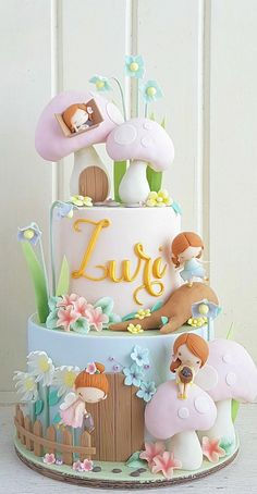 We Do Believe in Fairies Cake Best Picture For Cake Design unicorn For Your Taste You are looking for something, and it is going to tell you exactly what you are looking for, and you didn Fairy Birthday Cake, Baby Birthday Cakes, Beautiful Cakes, Amazing Cakes, Fondant Cakes Kids, Toadstool Cake, Fairy Cakes, Fairy Cake Pops, Garden Cakes