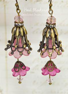 ButterBeeScraps - Beautiful Dangle Earrings - Two Tone Pink Tulip Earrings