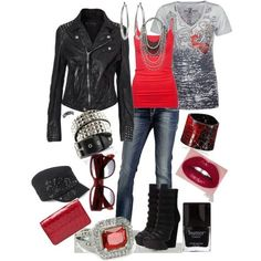 """Spash of Red"" by missyfer88 on Polyvore"