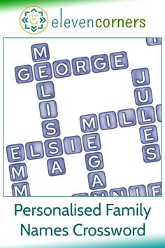 Personalised family names crossword print - custom crossword. Send us the names, we do the crossword design. A unique, personal family home decor gift idea. Family word art for your home. #elevencorners #family #crosswords #giftidea #homedecor Personalised Gifts For Him, Personalised Prints, Personalized Wall Art, Family Names, Family Wall Art, Presents For Him, Music Artwork, Name Gifts, Crossword
