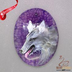 Hand Painted Bird Wolf Pendant Key Hanger  Natural Gemstone   ZL806025 #ZL #Pendant