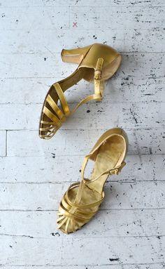 Folies Bergère tstraps / gold 1930s shoes / gold by DearGolden
