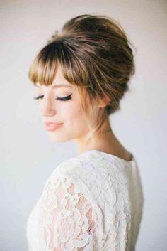 39 idées dun modèle coiffure de mariée avec frange. chignon de mariée intéressant