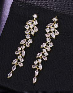 Cercei mireasa aurii Long leaf cu zirconii Swarovski, Brooch, Jewelry, Fashion, Diamond, Moda, Jewlery, Jewerly, Fashion Styles