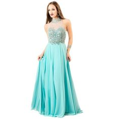 Shail K 4058 Sweet 16 Long Halter Sleeveless ($390) ❤ liked on Polyvore featuring dresses, gowns, aqua, formal dresses, formal evening gowns, prom dresses, long sequin gown, blue formal gown and blue formal dresses