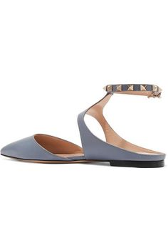 Valentino - The Rockstud Leather Point-toe Flats - Sky blue - IT39