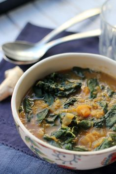Curried Red Lentil, Kale and Sweet Potato Soup