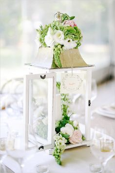 Wedding lantern centerpiece with flowers