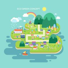 Eco green concept city vector template - The Concept of the Eco-city Illustration Noel, Illustrations, Vector Graph, Vector Free, Free Tarot Cards, Eco City, City Drawing, Architecture Concept Drawings, City Vector