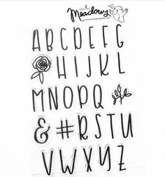 Courtney's Big Alpha Font Alphabet Stamp Set - any alphabet picture can also be an examplar for one's own lettering practice Hand Lettering Alphabet, Alphabet Stamps, Calligraphy Alphabet, Brush Lettering, Caligraphy, Cute Fonts Alphabet, Handwriting Fonts Alphabet, Font Styles Alphabet, Fancy Handwriting