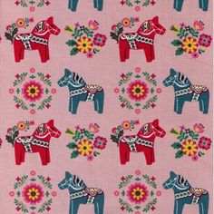 Clearance HALF YARD - Scandinavian Dala Horse on Dusty Pink - Red and Teal Blue Horses, Medallions,  Japanese Import Fabric - Cosmo Textile