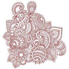 Henna Paisley Flower Doodle Vector Design Element