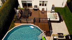 Backyard Pool Landscaping, Patio Gazebo, Patio Deck Designs, Patio Design, Patio Plus, Hot Tub Patio, Patio Installation, Oval Pool, Above Ground Pool Decks