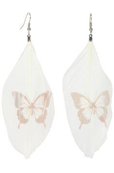 Louche Butterfly Feather Earrings Feather Earrings, Drop Earrings, Butterfly Effect, Romantic, Accessories, Jewelry, Jewlery, Jewerly, Schmuck