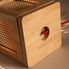 Wooden Hollowed Out Box Shade Single Light Table Lamp with Red Cord Chandelier