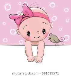 Cute cartoon baby girl and a bird on a pink background Baby Girl Images, Cartoon Girl Images, Baby Girl Pictures, Cartoon Images, Girl Cartoon, Dibujos Baby Shower, Baby Shower Clipart, Cute Baby Cartoon, Cartoon Monkey
