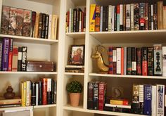 bookcase styling, good bones, great pieces.