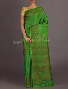 Shikha Fresh Green Oblique Designed Border #JuteSilkSaree