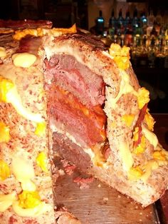Ground Beef + Ground Pork + Ham + Canadian Bacon + Pepperoni + Smoked Bacon + Cheese = The Meta Meat Cake