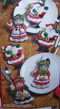 Bucilla Felt Applique Kit Santa and Mrs Claus Silverware Holder 86310 Sale… Felt Christmas Ornaments, Christmas Stockings, Christmas Decorations, Santa Ornaments, Holiday Decorating, Table Decorations, Felt Crafts, Holiday Crafts, All Things Christmas
