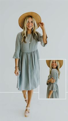 Dusty blue dress with bell sleeves - ROOLEE