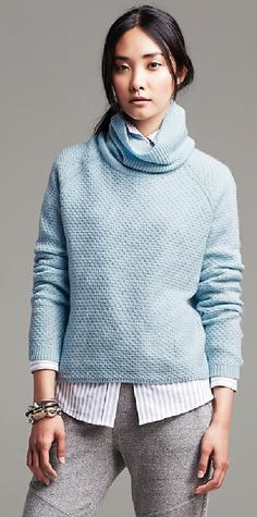 a978f811088685 Trending Fall 2014 - Pastels: Banana Republic Textured Cropped Turtleneck  in Baby Blanket Blue
