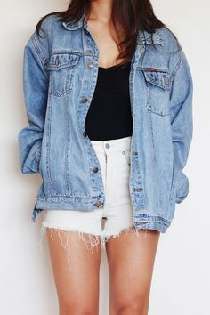 Light denim jacket,  white shorts, black shorts, black or white shirt