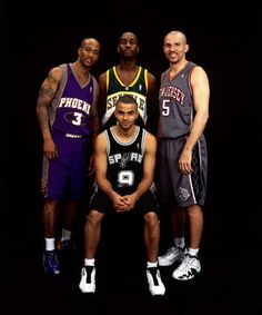 The Glove poses with Stephon Marbury, Jason Kidd and Tony Parker for the All-Star Game. You can tell Gary isn't impressed with his fellow All-Stars. Basketball Is Life, Basketball Pictures, Basketball Legends, Sports Basketball, Basketball Players, Seattle, Lakers Kobe, Basketball Photography, Basketball Leagues