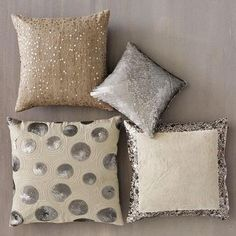 love these pillows! Inspiration for my room Sparkly Pillows, Toss Pillows, Glam Pillows, Accent Pillows, Couch Pillows, Home And Deco, Room Inspiration, Design Inspiration, Decoration