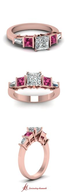 Hiatus Bar Ring || Princess Cut Diamond Side Stone Ring With Pink Sapphire In 14k Rose Gold