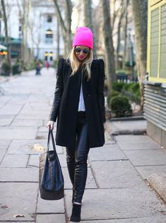 Hot Pink Pop via BrooklynBlonde.com / @brooklynblonde  Coat: Maje, Pants: Zara, Top: Equipment, Booties: Louboutin, Tote Bag: Joie, Hat: Neff, Lipstick: MAC Candy Yum-Yum, Sunglasses: Ray Ban. Monday, February 4, 2013