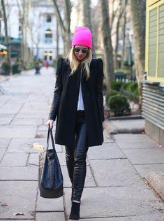 Hot Pink Pop via BrooklynBlonde.com / @brooklynblonde  Coat: Maje, Pants: Zara, Top: Equipment, Booties: Louboutin, Tote Bag: Joie, Hat: Neff, Lipstick: MAC Candy Yum-Yum, Sunglasses: Ray Ban. Monday, February 4, 2013